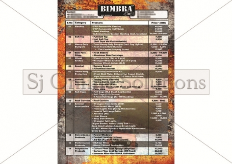 Price List Design For Bimbra 4x4