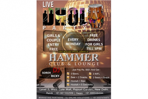 Creative for Dhol Party at Hammer Club & Lounge