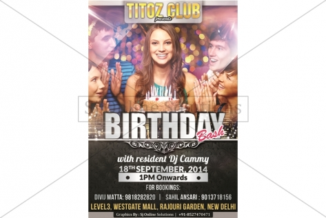 Creative Designing For Birthday Bash AT Titoz Club And Lounge