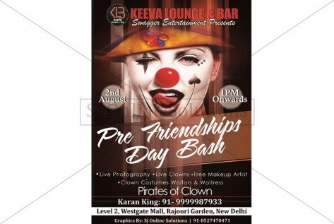 Creative Design For Clown Party At Club Keeva