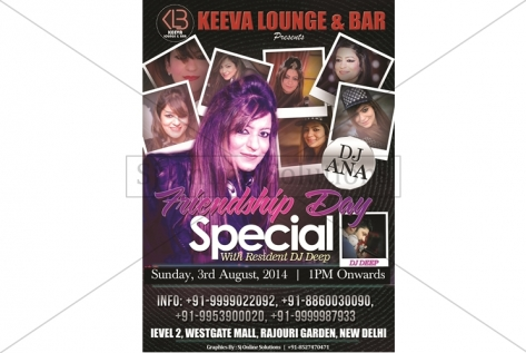 Creative Design For Frienship Day Special Party at Club Keeva