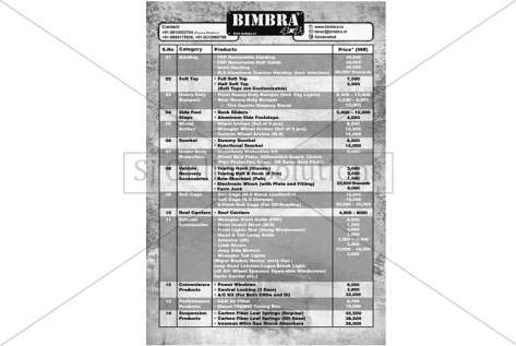 Price List Of Products Designing For Bimbra 4x4