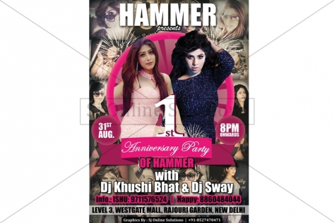 Creative Designing For Party With DJ Khushi Bhat And Dj Sway At Hammer Club And Lounge