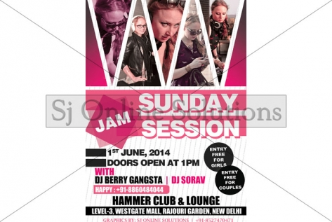 Creative Design For Sunday Jam Session With Dj Berry Gangsta at Club Hammer