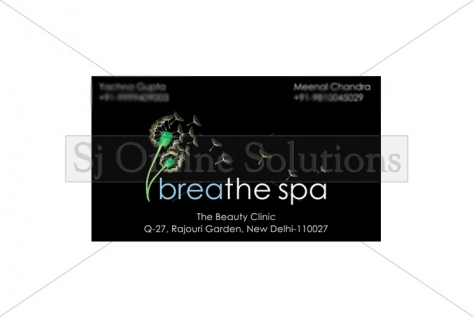 Visiting Cards Designing And Printing For Breathe Spa