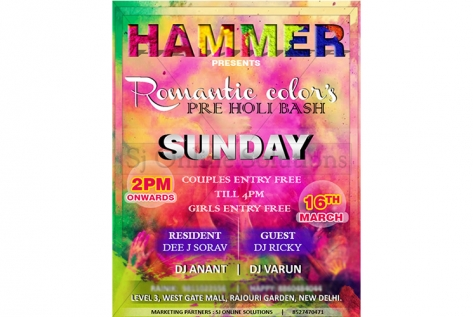 Creative Design For Pre Holi Bash At Hammer Club And Lounge