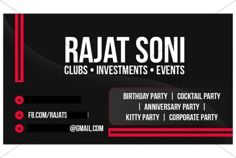 Visiting Card Design For Organiser, Titoz Club And Lounge
