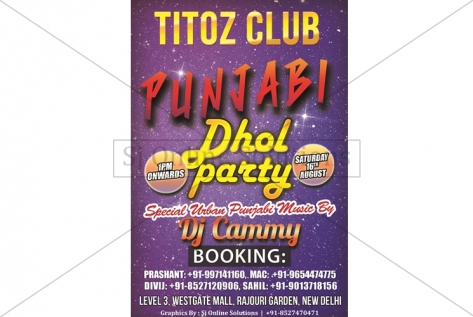 Creative design for Punjabi Dhol Party at Titoz