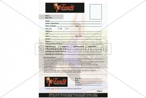 Registration Form Design For Foxy Fit