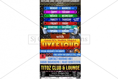 Poster Designer For Live And Loud Party At Titoz Club And Lounge