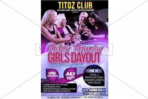 Creative Design For Thirsty Thursday Party At Titoz Club And Lounge