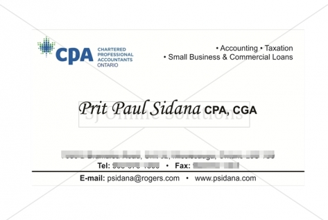 Visiting Card Design For Mr. Sidana, Cpa, Cga, Toronto