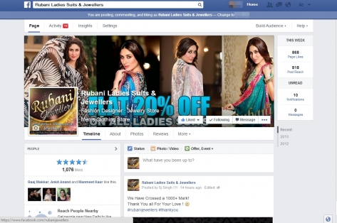 Online Marketing For Rubani Ladies Suits And Jewellers