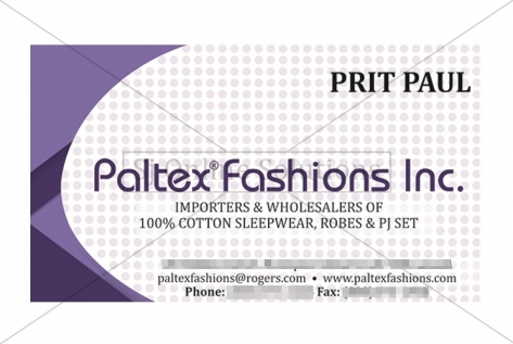 Visiting Card Design For Paltex Fashions Inc