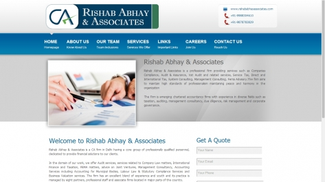 Website for Rishab and Abhay Associates (Chartered Accountants)